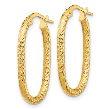 14K 2x2mm Diamond-cut Oval Hoop Earrings