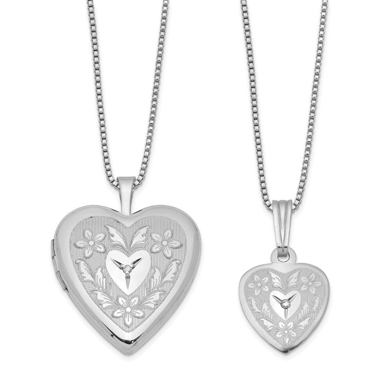 Quality Gold Sterling Silver Rhodium-plated Diamond Polished Heart Locket & Pendant Set