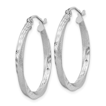 Sterling Silver RH-plated Satin Diamond-cut 2.5x25mm Twisted Hoop Earrings