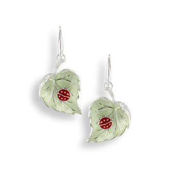 Green Ladybug Wire Earrings.Sterling Silver-White Sapphires