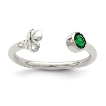 Sterling Silver Green Glass Bead 4-Leaf Clover Adjustable Ring