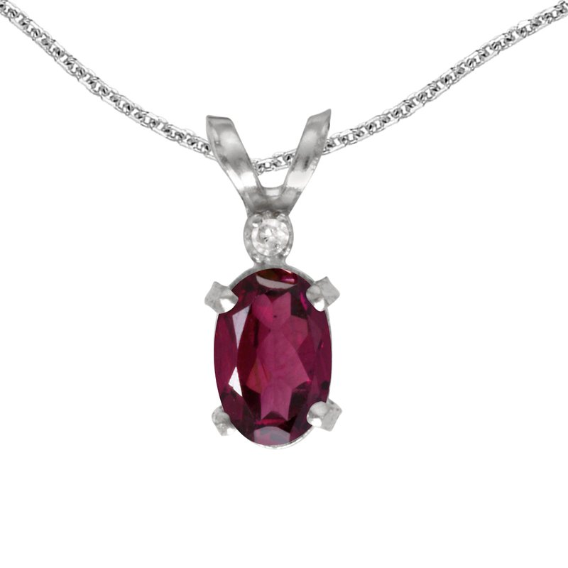 Color Merchants 14k White Gold Oval Rhodolite Garnet And Diamond Filagree Pendant