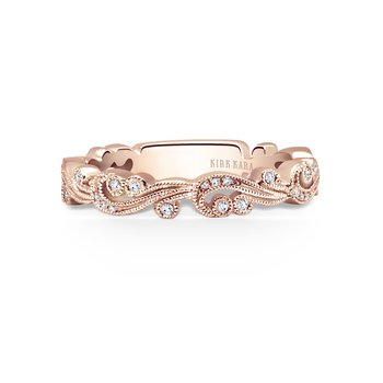 Whimisical Milgrain Diamond Wedding Band