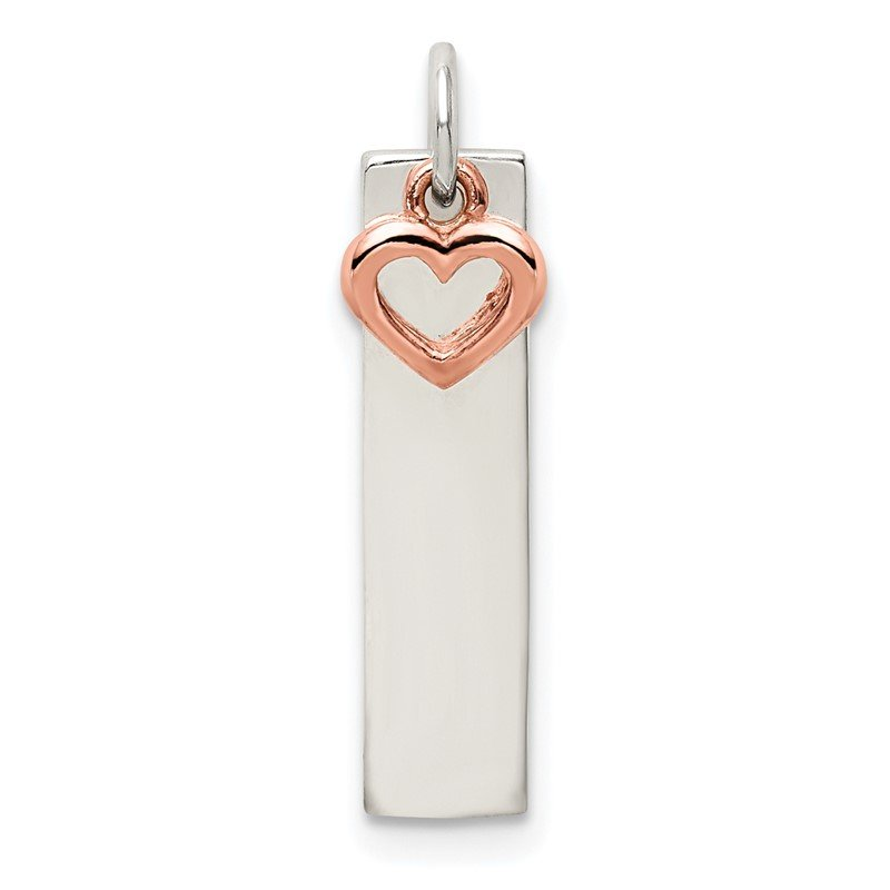 Quality Gold Sterling Silver & Rose-tone Bar & Heart Charm