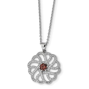 SS Rhodium-Plated CZ Brilliant Embers Swirls Necklace