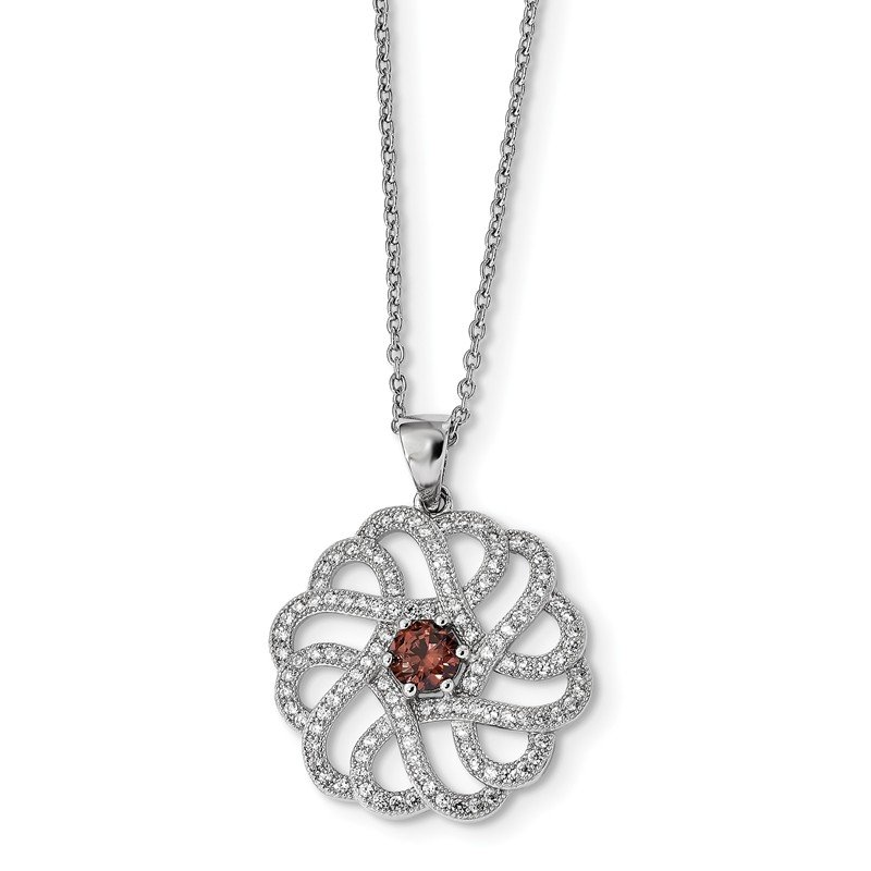 J.F. Kruse Signature Collection Sterling Silver & CZ Brilliant Embers Swirls Necklace