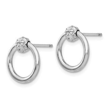 14K White Gold Diamond Cut Circle Drop Post Earrings