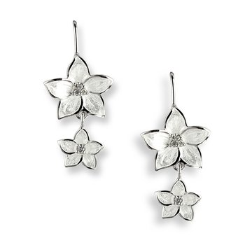 White Stephanotis Wire Earrings.Sterling Silver-White Sapphires