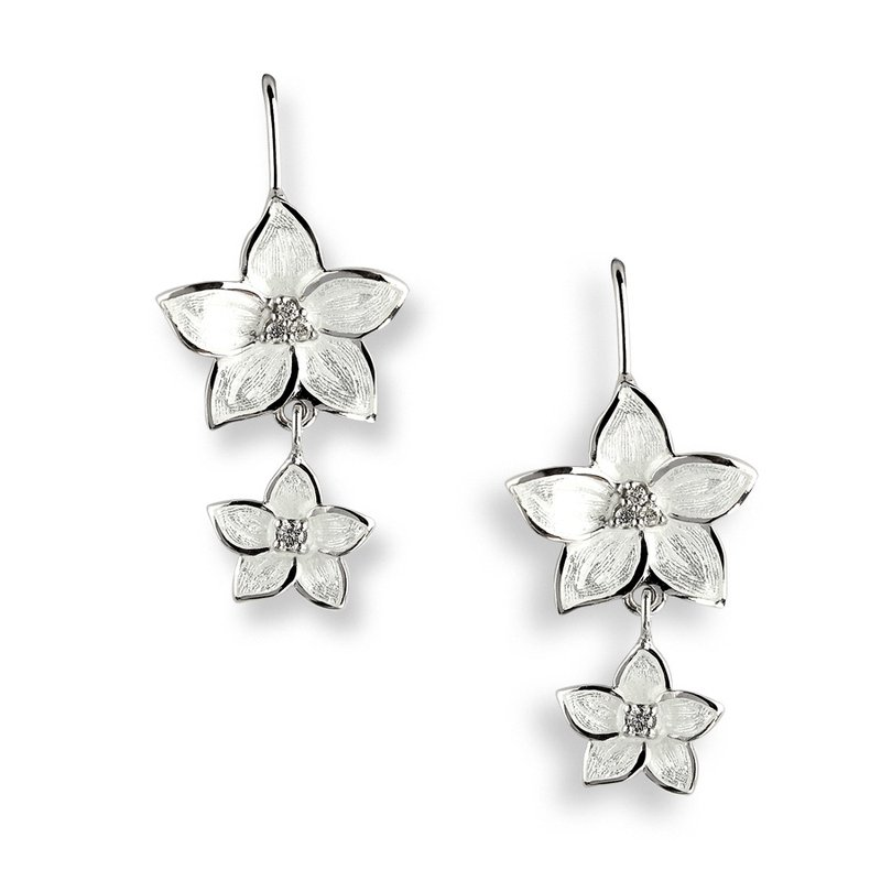 Nicole Barr Designs White Stephanotis Wire Earrings.Sterling Silver-White Sapphires