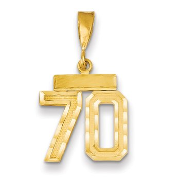 14k Small Diamond-cut Number 70 Charm