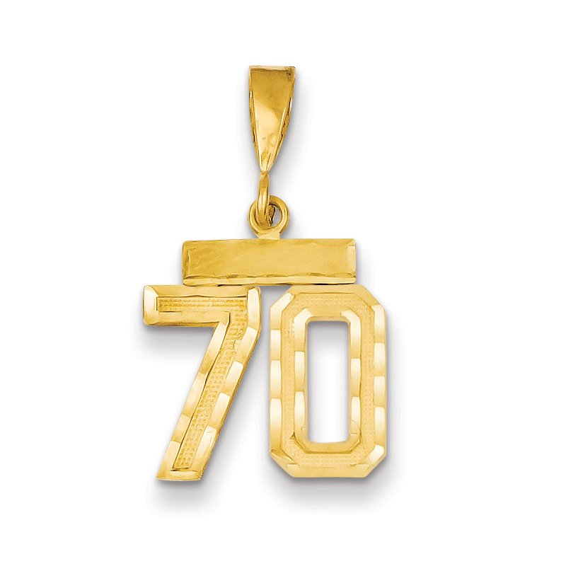 Quality Gold 14k Small Diamond-cut Number 70 Charm