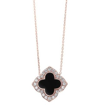 Diamond Clover Onyx & Diamond Pendant Necklace in 14k Yellow Gold (1/4ctw)