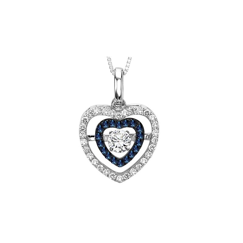 Rhythm of Love 14K Blue & White Diamond Rhythm Of Love Pendant 3/8 ctw