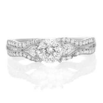 White Gold Euro Shank Engagement Setting