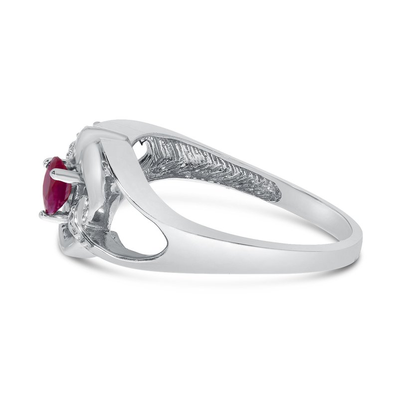 Color Merchants 14k White Gold Round Ruby And Diamond Heart Ring