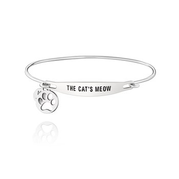 THE CATS MEOW ID BANGLE - SS Lt Ox Finish, M/L