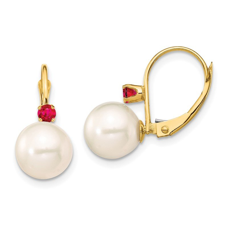 Quality Gold 14K 8-8.5mm White Round FWC Pearl Ruby Leverback Earrings
