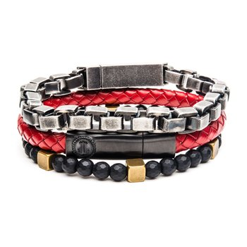 Gun Metal, Black Hematite and Red Leather Stackable Bracelets