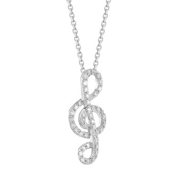 14K Music Clef set with 44 Diamonds 0.14CT