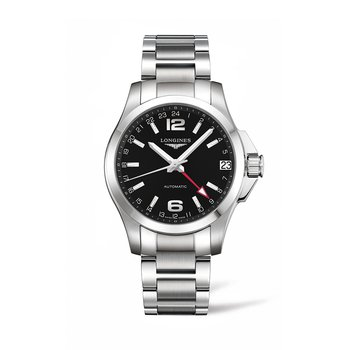 Longines Conquest GMT Automatic 41mm Steel Mens Watch - Black Dial