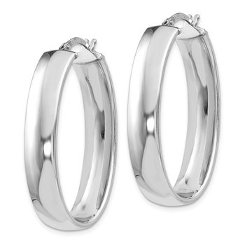 Leslie's Sterling Silver Polished Oval Hinged Hoop Earrings