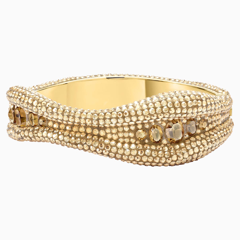 Swarovski Tigris Bangle, Gold tone, Gold-tone plated