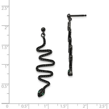 Sterling Silver Brilliant Embers Rhod-pl Green Black Spinel Snake Earrings