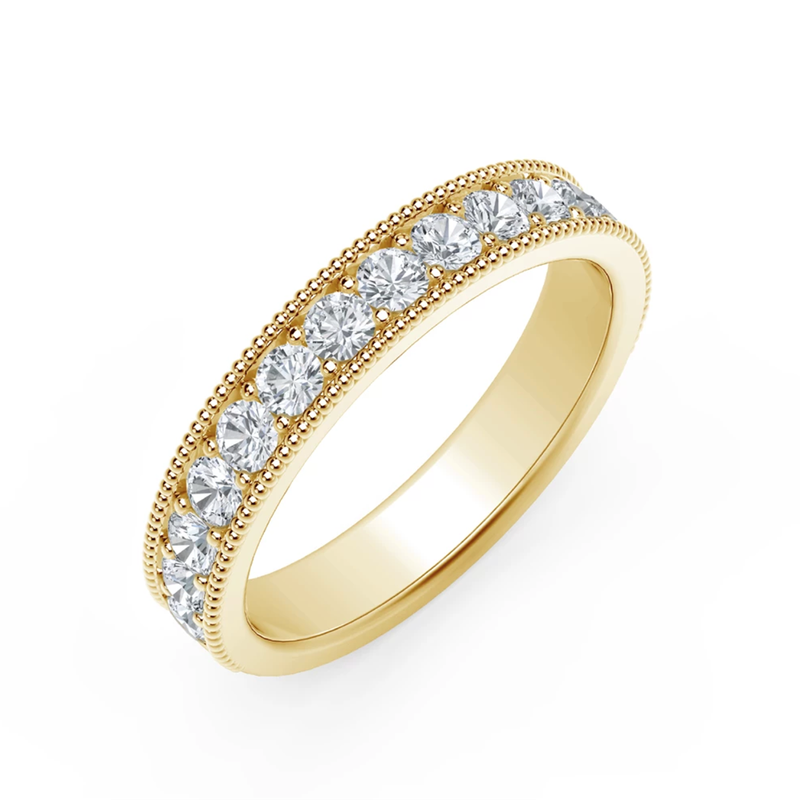 Beaded Edge Diamond Ladies Wedding Band