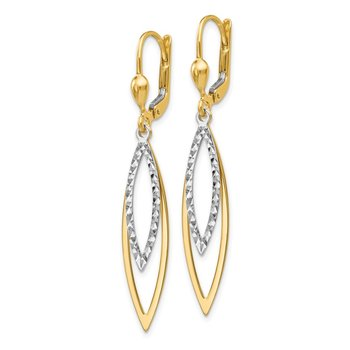 14k Two-tone Diamond-cut Leverback Earrings