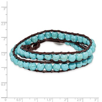 6mm Dyed Turquoise Leather Cord Multi Wrap Bracelet