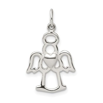 Sterling Silver Polished Angel w/ Heart Charm