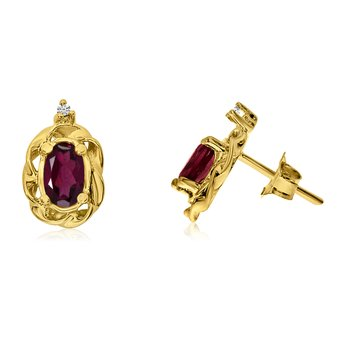 14k Yellow Gold Ruby Scroll Diamond Earrings