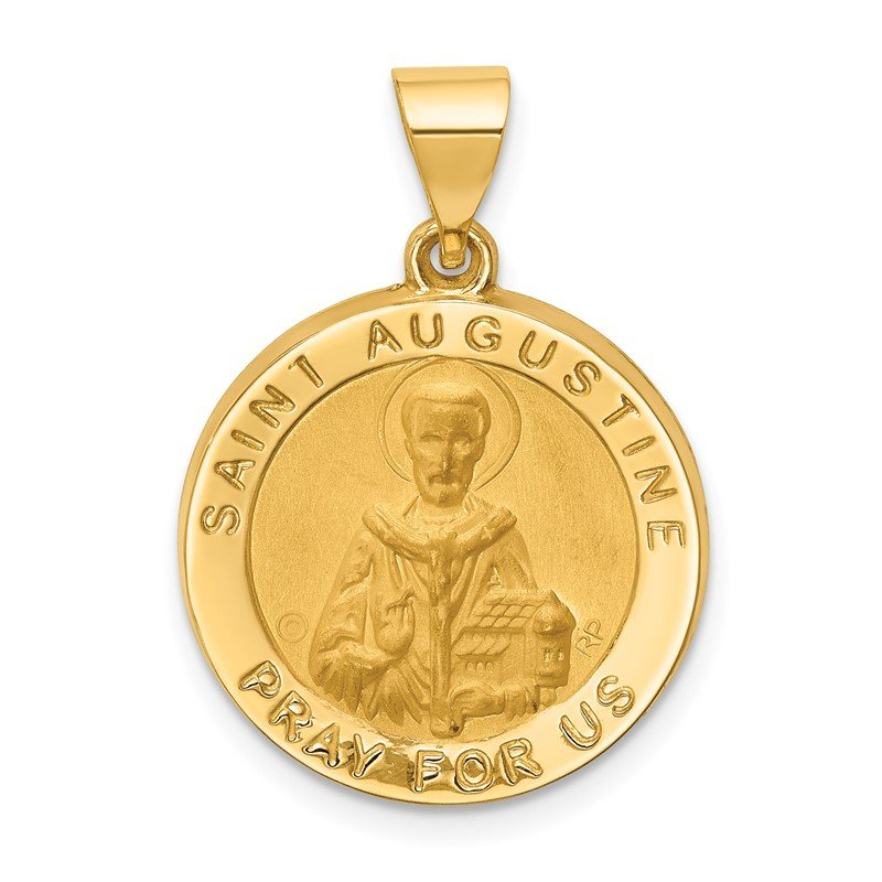 Quality Gold 14k Hollow Polished/Satin Round St. Augustine Medal