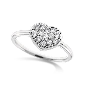 Diamond Heart Ring in 14k White Gold with 13 Diamonds weighing .27ct tw.