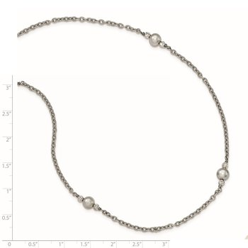 Sterling Silver Rhodium-plated Grey FW Cultured Texture Cable Necklace