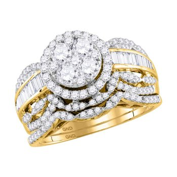 14kt Yellow Gold Womens Round Diamond Cluster Halo Bridal Wedding Engagement Ring Band Set 1-1/2 Cttw