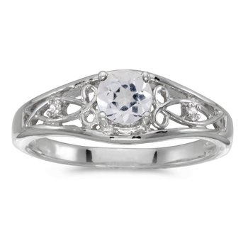 10k White Gold Round White Topaz And Diamond Ring