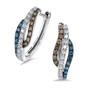 Pave set Blue, Cognac and White Diamond Hoop, 10k White Gold  (3/4 ct. tw.)