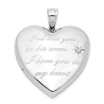 Sterling Silver Rhodium-plate God Has.. Diamond Ash Holder Heart Locket