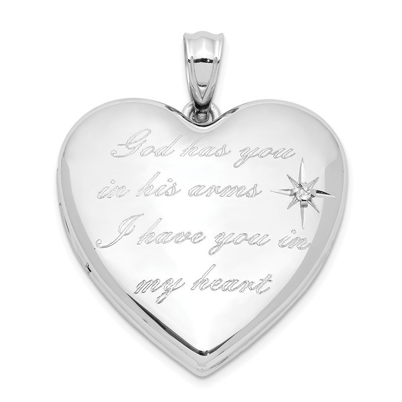 Quality Gold Sterling Silver Rhodium-plate God Has.. Diamond Ash Holder Heart Locket