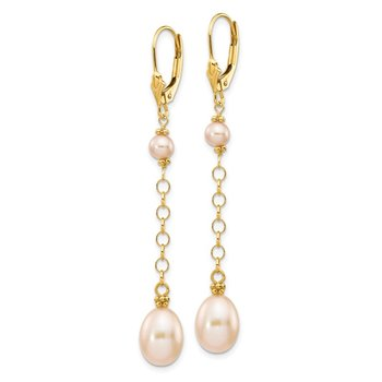 14K 5-8mm Pink Freshwater Cultured Pearl Leverback Earrings