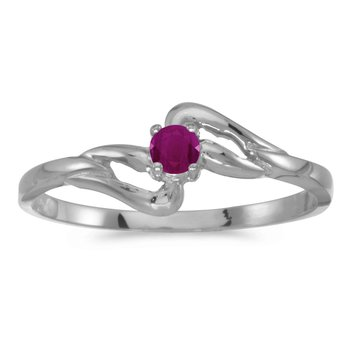 14k White Gold Round Ruby Ring