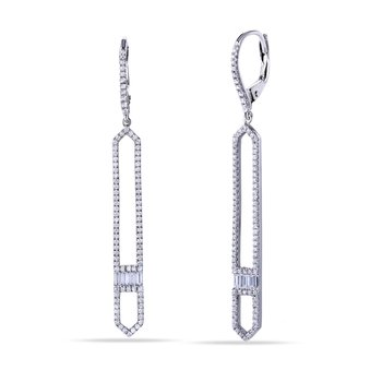14L Long Hexagon Design Earrings with 178 Round Diamonds 0.55C T.W. & 8 Baguette Diamonds 0.19C T.W.