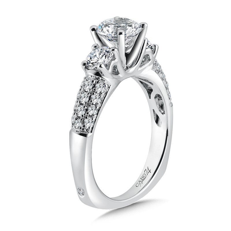 Caro74 3 Stone Engagement Ring with Side Stones in 14K White Gold with Platinum Head (1/2ct. tw.)