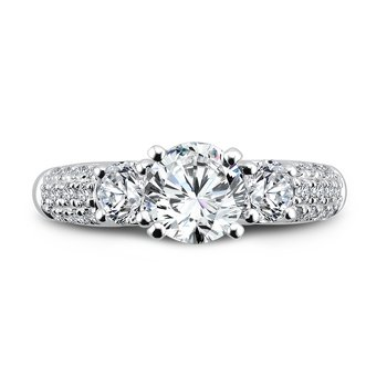 3 Stone Engagement Ring with Side Stones in 14K White Gold with Platinum Head (1/2ct. tw.)