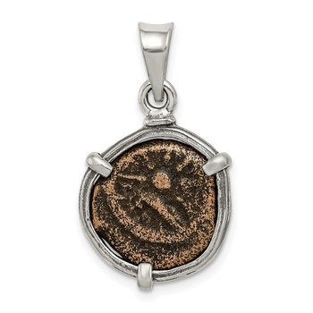 Sterling Silver Ancient Coins Antiqued Widow's Mite Coin Pendant