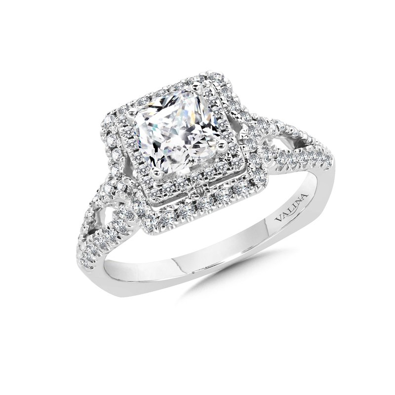 Valina Cushion Halo Engagement Ring Mounting in 14K White Gold (.56 ct. tw.)