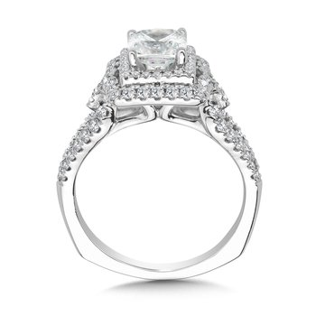 Cushion Halo Engagement Ring Mounting in 14K White Gold (.56 ct. tw.)