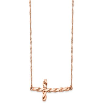 14k Rose Gold Polished Twisted Sideways Cross 17 inch Necklace
