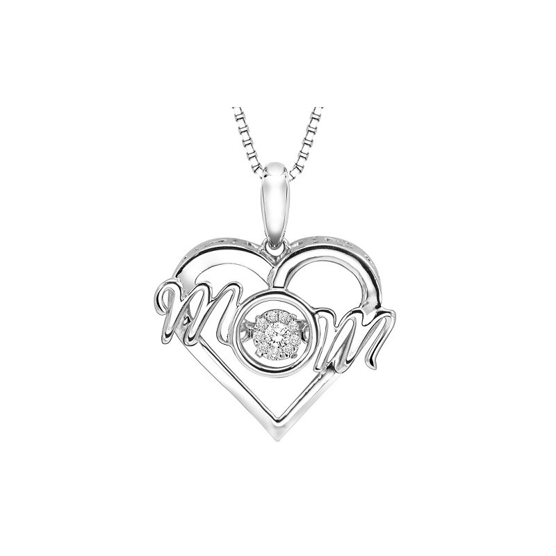 Necker's Signature Collection Silver Diamond MOM Rhythm Of Love Pendant
